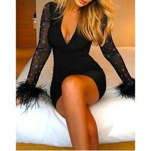 Women's Glitter/Mesh/Feather sleeve Party Dress XS